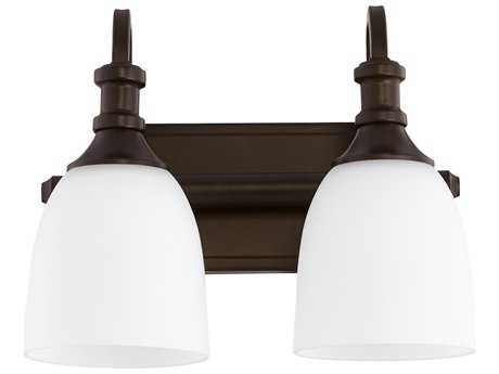 Quorum International Richmond Oiled Bronze with Satin Opal Two-Light Vanity Light QM5011286