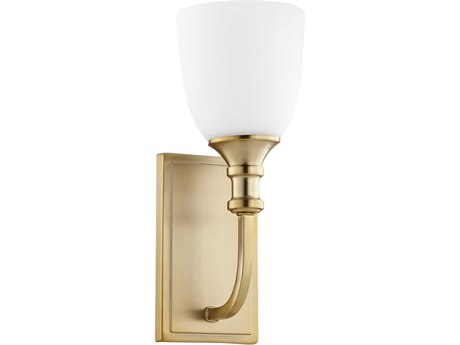 Quorum International Richmond Aged Brass with Satin Opal Glass 5'' Wide Vanity Light QM5411180