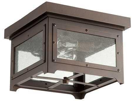 Quorum International Riverdale Oiled Bronze with Clear Seeded Glass Two-Light Outdoor Ceiling Light QM3571386