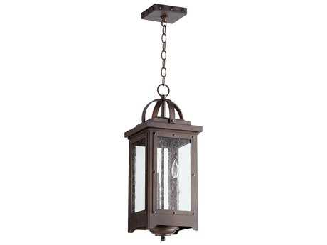 Quorum International Riverdale Oiled Bronze with Clear Seeded Glass Three-Light Outdoor Hanging Light QM758386