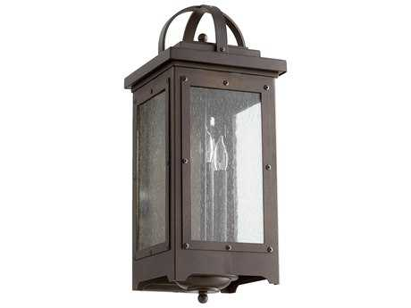 Quorum International Riverdale Oiled Bronze with Clear Seeded Glass Three-Light Outdoor Wall Light