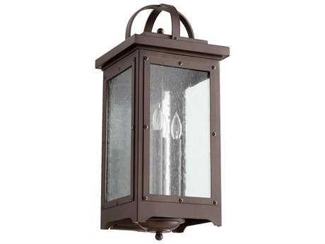 Quorum International Riverdale Oiled Bronze with Clear Seeded Glass Four-Light Outdoor Wall Light QM757486