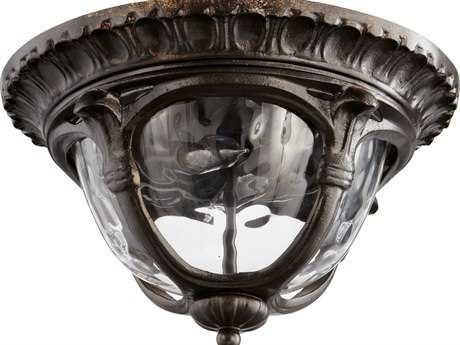 Quorum International Riviera Oiled Bronze Oiled Bronze Two-Lights Outdoor Flush Mount Light QM39011386