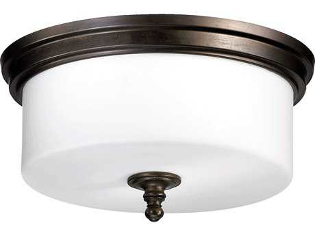 Quorum International Rockwood Oiled Bronze Three-Lights Flush Mount Light QM30901486