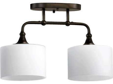 Quorum International Rockwood Oiled Bronze Two-Lights Semi-Flush Mount Light QM3290286