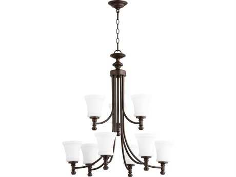 Quorum International Rossington Oiled Bronze with Satin Opal Nine-Light 30'' Wide Chandelier