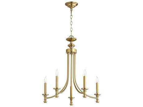 Quorum International Rossington Aged Brass Five-Light 22'' Wide Mini Chandelier QM6022580