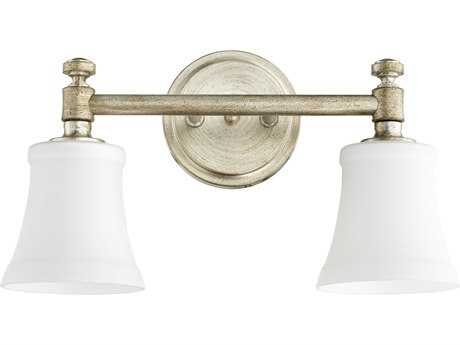Quorum International Rossington Aged Silver Leaf with Satin Opal Two-Light Vanity Light