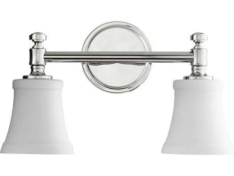 Quorum International Rossington Polished Nickel with Satin Opal Two-Light Vanity Light