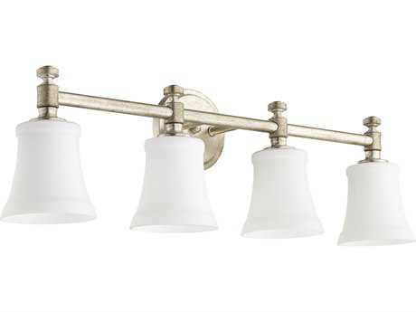 Quorum International Rossington Aged Silver Leaf with Satin Opal Four-Light Vanity Light