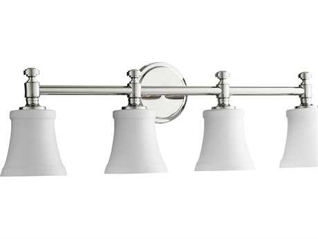 Quorum International Rossington Polished Nickel with Satin Opal Four-Light Vanity Light