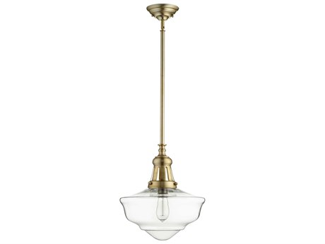 Quorum International Schoolhouse Aged Brass with Clear Glass 15'' Wide Pendant Light QM8011580