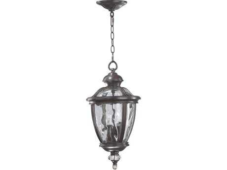 Quorum International Sloane Baltic Granite & Clear Rib Three-Lights Outdoor Hanging Light QM7222345