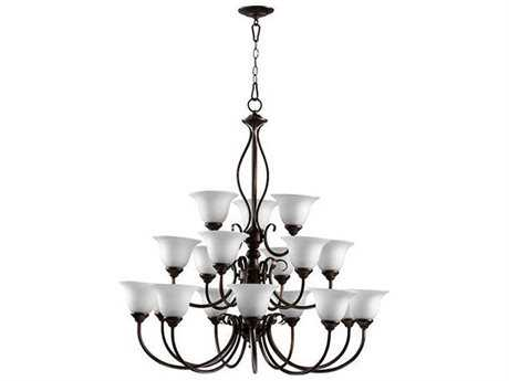 Quorum International Spencer Oiled Bronze With Satin Opal 18-Light 38.5'' Wide Chandelier QM601018186