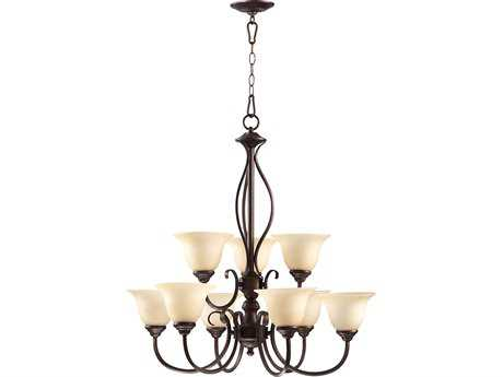 Quorum International Spencer Oiled Bronze Nine-Light 29'' Wide Chandelier