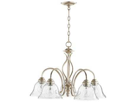 Quorum International Spencer Aged Silver Leaf with Clear/Seeded Five-Light 24'' Wide Chandelier QM6410560