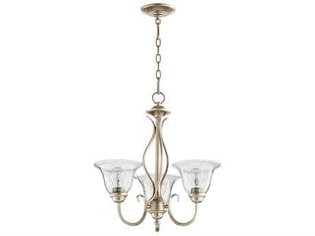 Quorum International Spencer Aged Silver Leaf with Clear/Seeded Three-Light 20'' Wide Mini Chandelier QM6010360