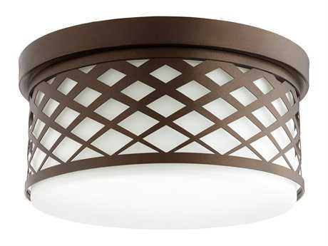 Quorum International Tommy Oiled Bronze with White Three-Light 14'' Wide Flush Mount Light QM3411486