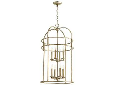 Quorum International Toque Entry Aged Silver Leaf Eight-Light 18'' Wide Chandelier