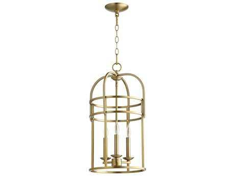 Quorum International Toque Entry Aged Brass Three-Light 12'' Wide Mini Chandelier QM6733380