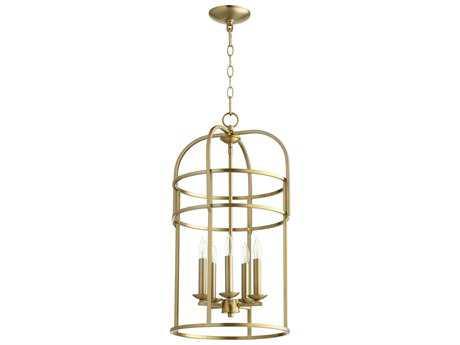 Quorum International Toque Entry Aged Brass Five-Light 14'' Wide Mini Chandelier QM6733580