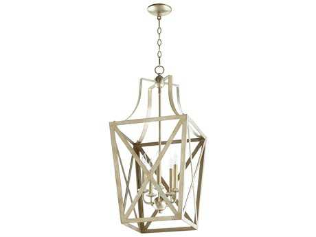 Quorum International Trap Entry Aged Silver Leaf Five-Light 15'' Wide Chandelier QM6736560