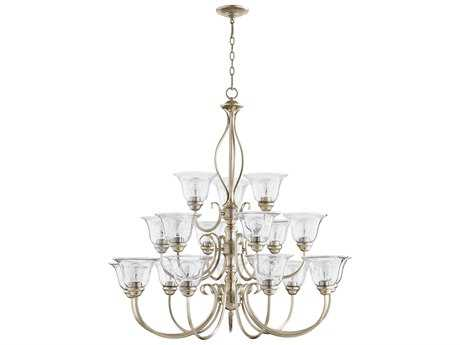 Quorum International Universal Aged Silver Leaf with Clear/Seeded 18-Light 39'' Wide Chandelier QM60101860