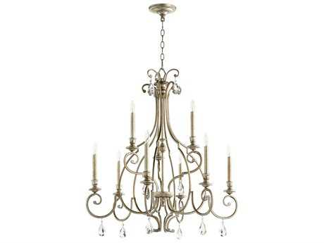 Quorum International Universal Aged Silver Leaf Nine-Light 31'' Wide Chandelier QM6014960