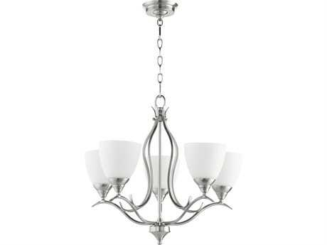 Quorum International Universal Satin Nickel with Satin Opal Five-Light 22'' Wide Mini Chandelier QM614565