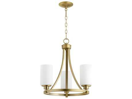 Quorum International Universal Aged Brass with Satin Opal Three-Light 18'' Wide Mini Chandelier QM6207380