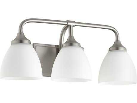 Quorum International Universal Satin Nickel with Satin Opal Three-Light Vanity Light