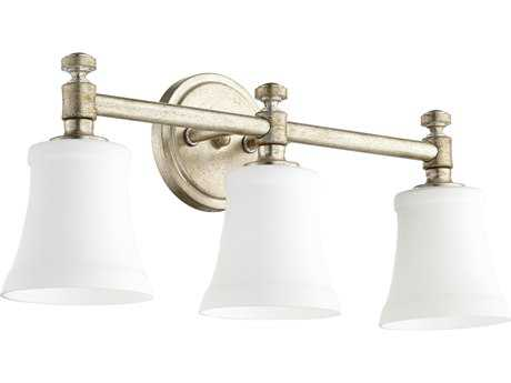 Quorum International Universal Aged Silver Leaf with Satin Opal Three-Light Vanity Light
