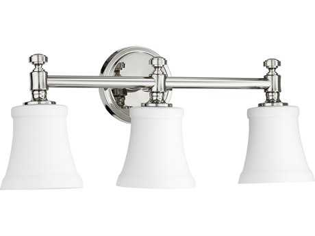 Quorum International Universal Polished Nickel with Satin Opal Three-Light Vanity Light QM5122362