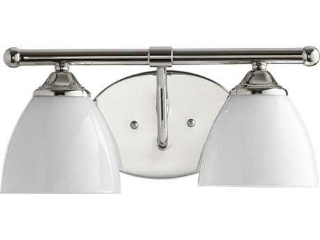 Quorum International Universal Polished Nickel with Opal Two-Light Vanity Light QM5150262