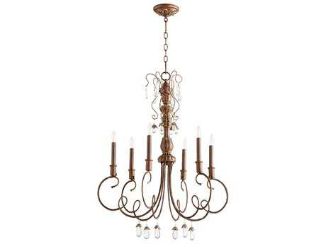 Quorum International Venice Vintage Copper Six-Light 28'' Wide Chandelier QM6044639