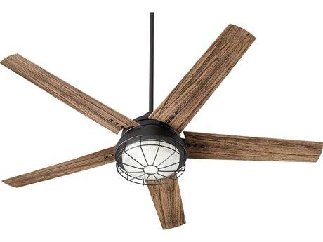 Quorum International Westland Noir Two-Light 60'' Wide LED Outdoor Ceiling Fan with Walnut Blades QM1660569