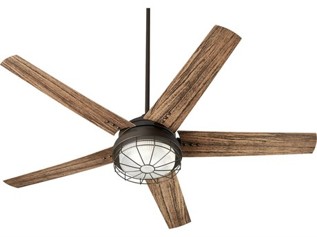 Quorum International Westland Oiled Bronze Two-Light 60'' Wide LED Outdoor Ceiling Fan with Walnut Blades QM1660586