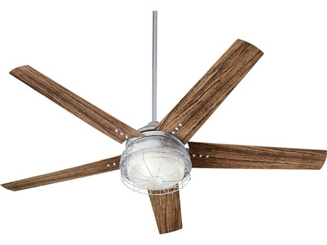 Quorum International Westland Galvanized Two-Light 60'' Wide LED Outdoor Ceiling Fan with Walnut Blades QM166059