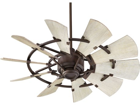 Quorum International Windmill Oiled Bronze 44'' Wide Indoor Ceiling Fan with Weathered Oak Blades