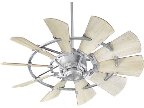 Quorum International Windmill Galvanized 44'' Wide Indoor Ceiling Fan with Weathered Oak Blades