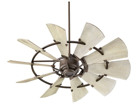 Quorum International Windmill Oiled Bronze 52'' Wide Indoor Ceiling Fan with Weathered Oak Blades