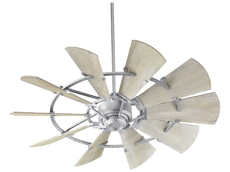 Quorum International Windmill Galvanized 52'' Wide Indoor Ceiling Fan with Weathered Oak Blades QM952109