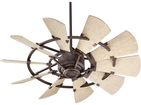Quorum International Windmill Oiled Bronze 44'' Wide Outdoor Ceiling Fan with Weathered Oak Blades