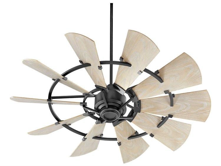 Quorum International Windmill Noir 52 Wide Outdoor Ceiling Fan With Weathered Oak Blades 195210 69