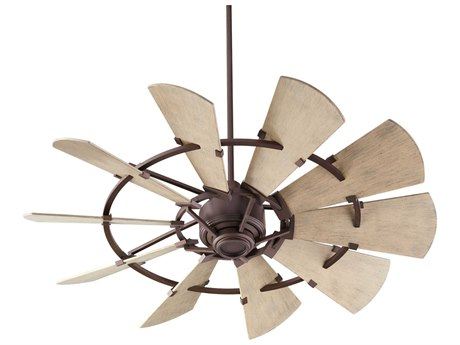 Quorum International Windmill Oiled Bronze 52'' Wide Outdoor Ceiling Fan with Weathered Oak Blades