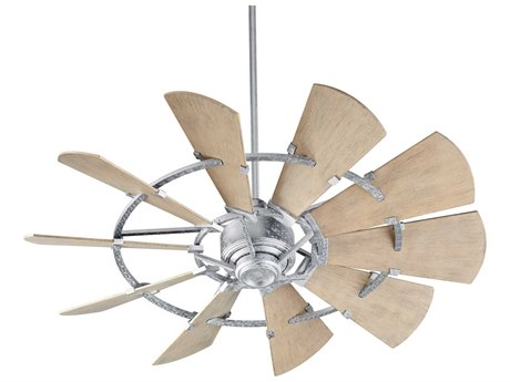 Quorum International Windmill Galvanized 52'' Wide Outdoor Ceiling Fan with Weathered Oak Blades
