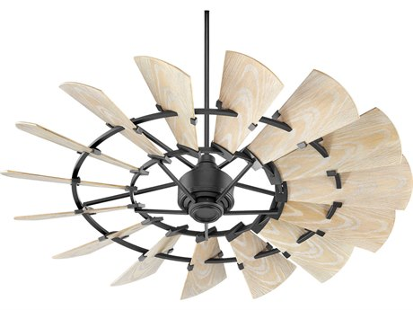 Quorum International Windmill Noir 60'' Wide Outdoor Ceiling Fan with Weathered Oak Blades