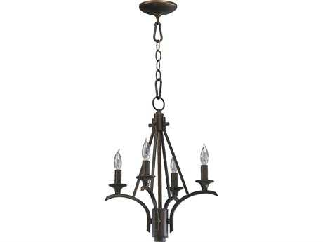 Quorum International Winslet II Oiled Bronze Four-Light 14'' Wide s Mini Chandelier QM6029486