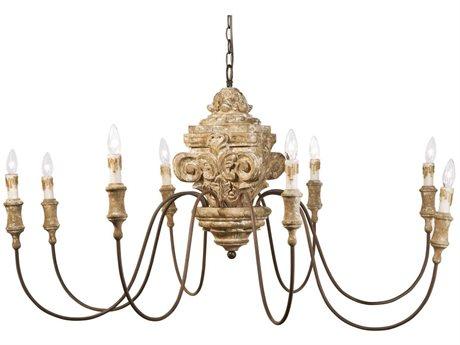 Regina Andrew Wood Carved Natural Eight-Lights 49'' Wide Grand Chandelier