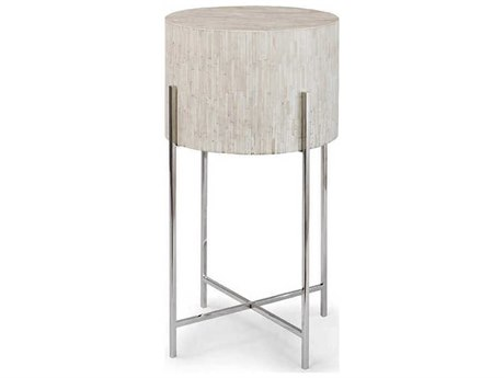 Regina Andrew Bone Polished Nickel 14'' Wide Round End Table